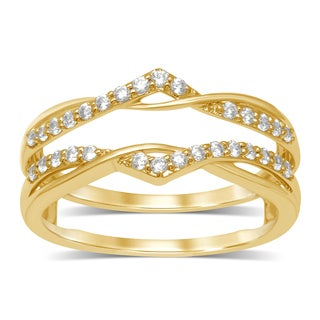 Unending Love 14k Yellow Gold 1/4ct TDW Round Diamond Anniversary Wedding Band Enhancer Guard Double Ring (IJ, I2)