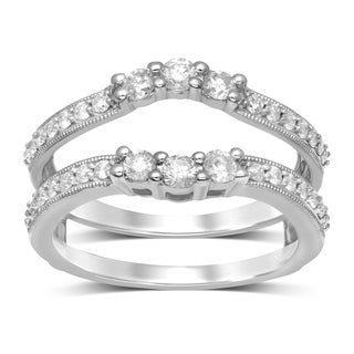Unending Love 14k Gold 3/4ct TDW Diamond Millgrain Enhancer Double Guard Band