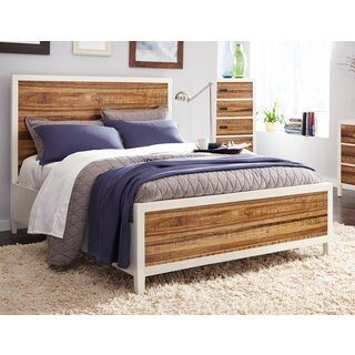 Montana Platform Bed in White Lacquer and Natural Sengon