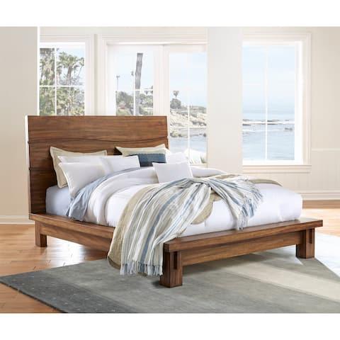 Ocean Solid Wood Platform Bed in Natural Sengon