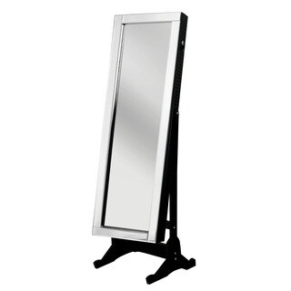 Chic Home Daze Jewelry Armoire Cheval Mirror, Full-length, Elegant Black