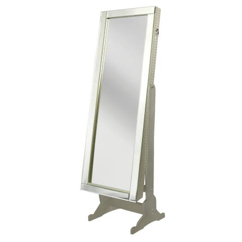 Chic Home Daze Jewelry Armoire Cheval Mirror, Full-length, Royal Champagne - A