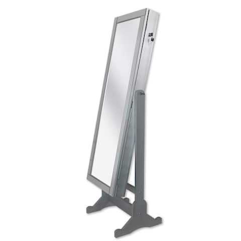 Chic Home Daze Jewelry Armoire Cheval Mirror, Full-length, Silver - Silver/Black - A/N