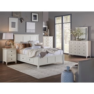 Paragon White Mahogany Wood Four-drawer Storage Bed