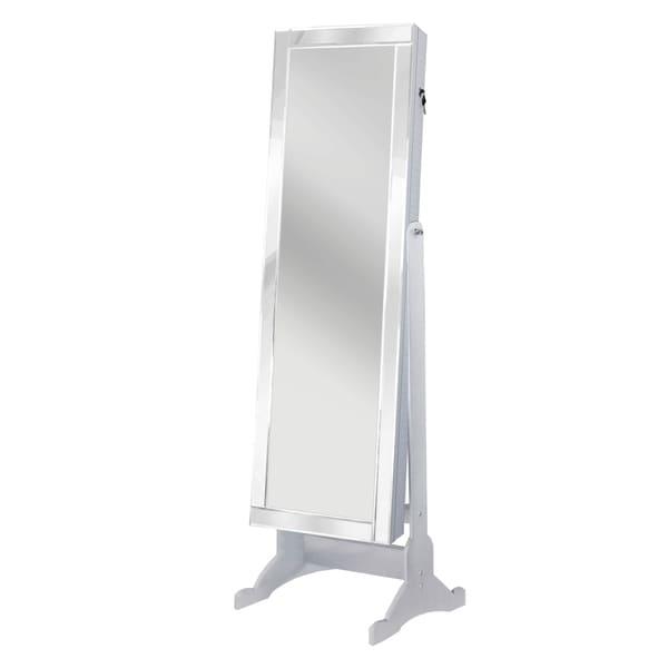 Chic Home Daze Jewelry Armoire Cheval Mirror, Full-length, Pristine White