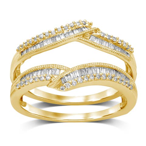 Unending Love 14k Gold 1/2 ctw Round and Baguette Diamond Wrap Guard Milgrain Ring
