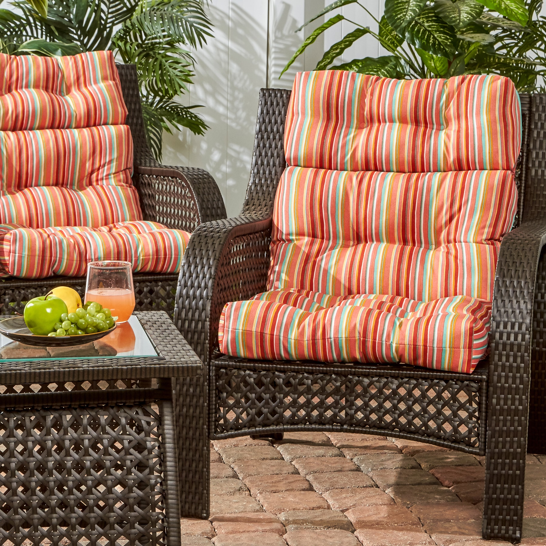 Shop 3 Section Outdoor Coastal Stripe High Back Chair Cushion Set