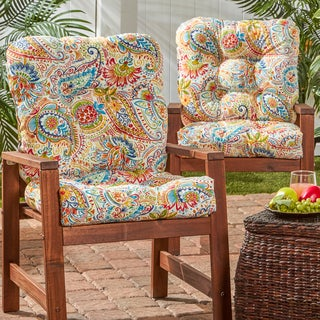 Printed Paisley Outdoor Seat/ Back Chair Cushion (Set of 2)
