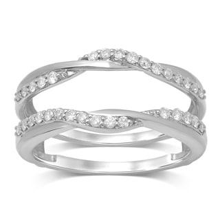 unending love 14k white gold 13ct tdw diamond wrap guard ring - Wedding Ring Jackets