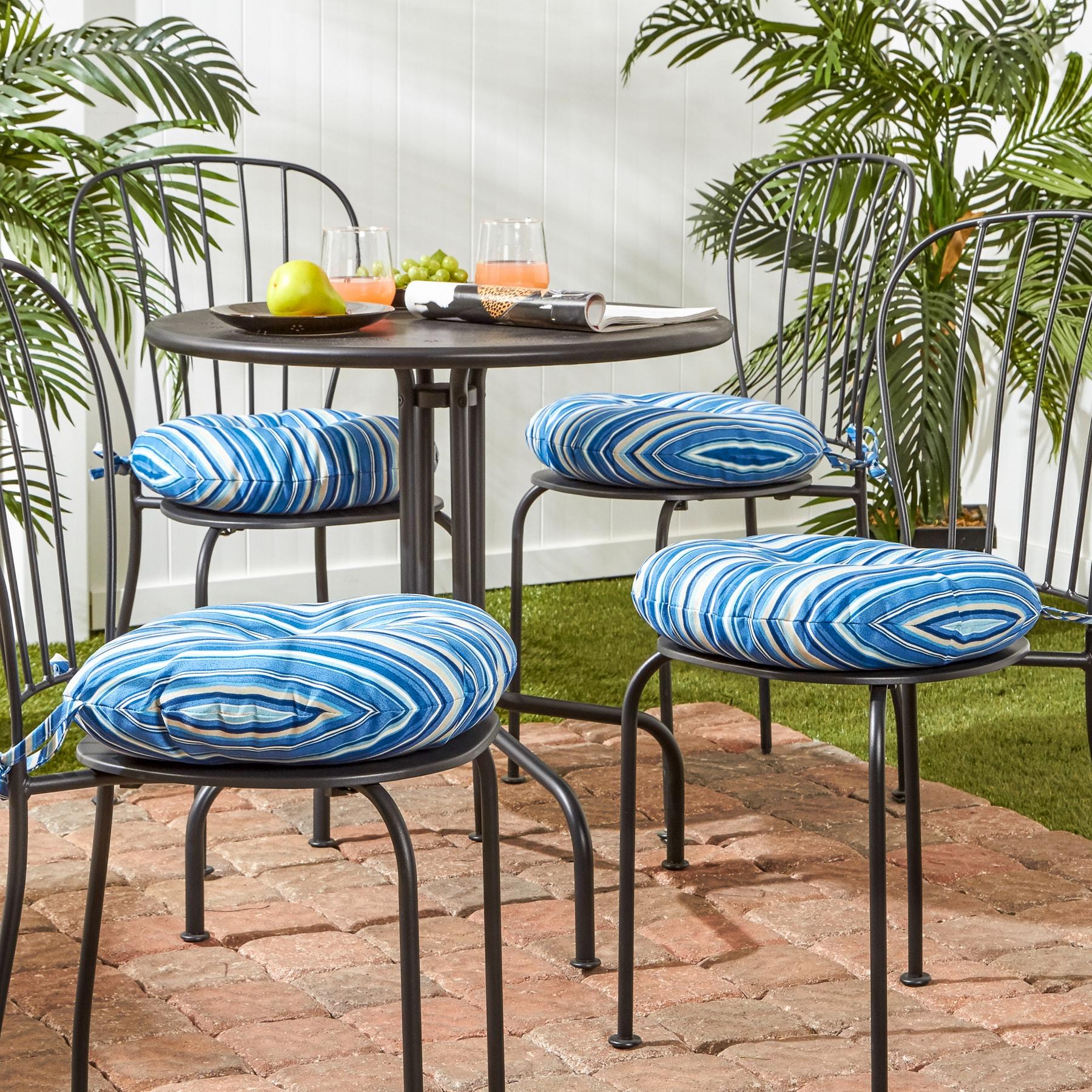 Shop 18 Inch Outdoor Round Coastal Stripe Bistro Chair Cushion Set