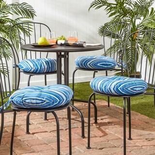 18 Inch Outdoor Round Coastal Stripe Bistro Chair Cushion (Set Of 4)