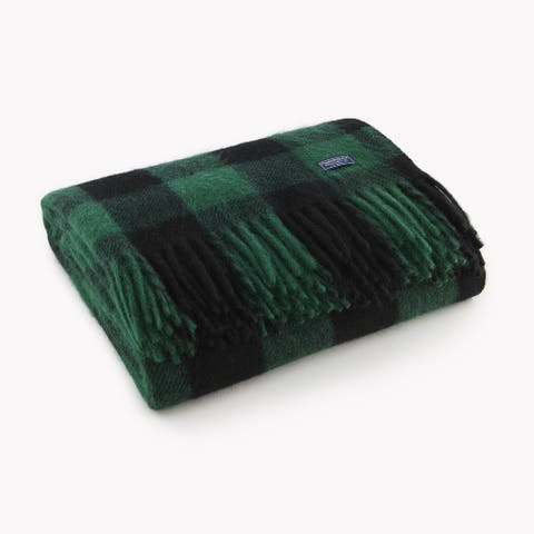 Faribault Black and Green Buffalo Check Wool Throw