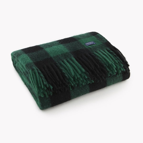 Faribault Black and Green Buffalo Check Wool Throw. Opens flyout.