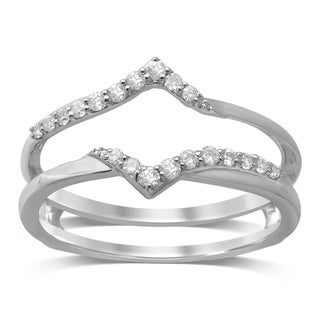 unending love 14k white gold 15ct tdw diamond wrap guard ring - Wedding Ring Guard