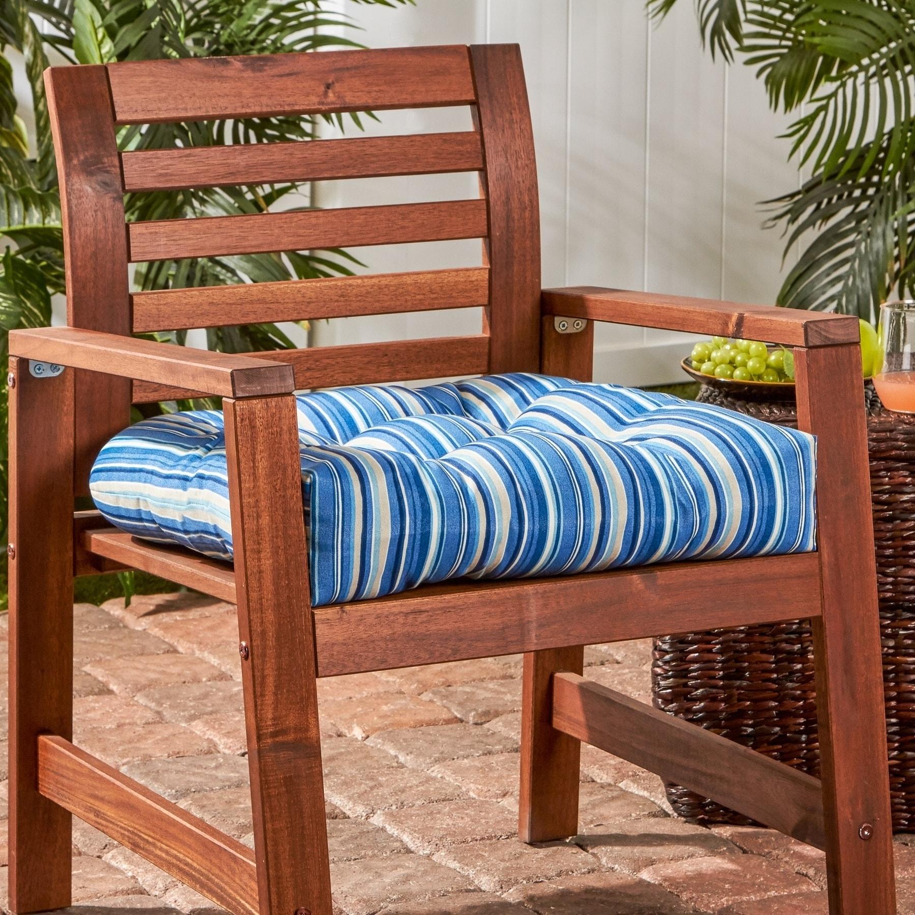 Stripe 20 Inch Outdoor Chair Cushion
