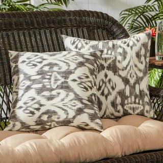 Outdoor Coastal Ikat Square Accent Pillows (Set of 2)