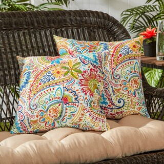 Porch & Den Rosewood Zaragosa Painted Paisley 17-inch Outdoor Accent Pillow (Set of 2)