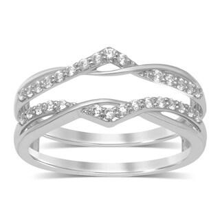 Unending Love 14k White Gold 1/4ct TDW Round Diamond Anniversary Wedding Band Enhancer Guard Double Ring (IJ, I2)