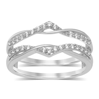 Unending Love 14k Gold 1/4 ctw Round Diamond ( I-J Color, I2-I3 Clarity ) Wedding Band Enhancer Guard Double Ring