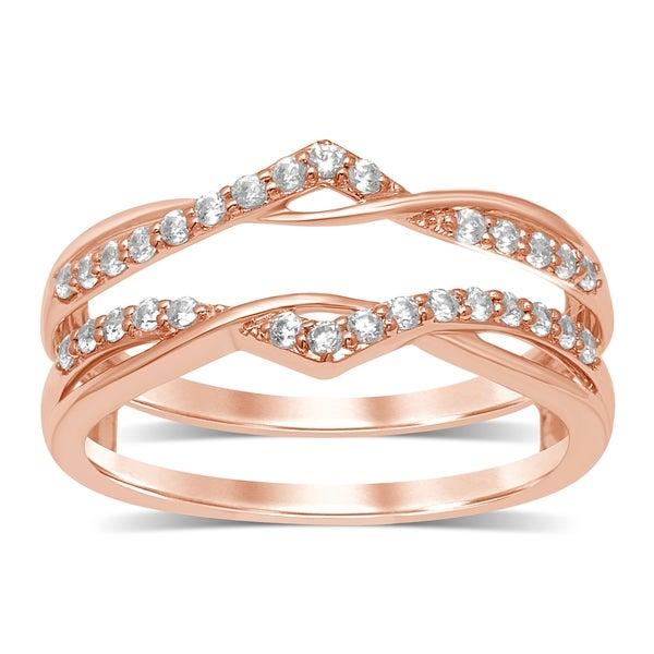 FB Jewels 14kt Rose Gold Womens Round Diamond Contoured Enhancer Wedding Band Ring 1//6 Cttw I1-I2 clarity; H-I color