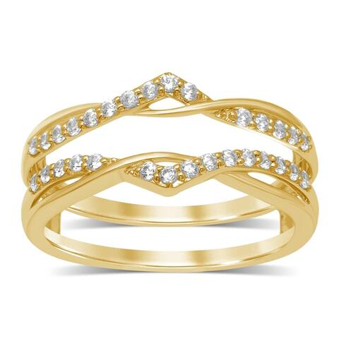 Unending Love 14k Gold 1/4 ctw Round Diamond ( I-J Color, I2-I3 Clarity ) Wedding Band Enhancer Guard Double Ring