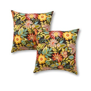 Outdoor 17-inch Square Accent Pillows, Set of Two in Jungle Floral