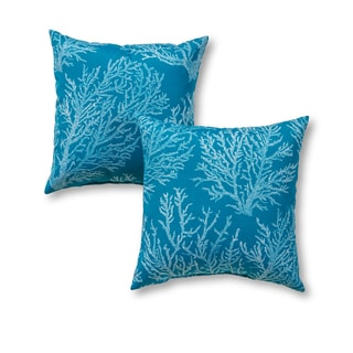 Outdoor 17-inch Square Accent Pillows, Set of Two in Sea Coral