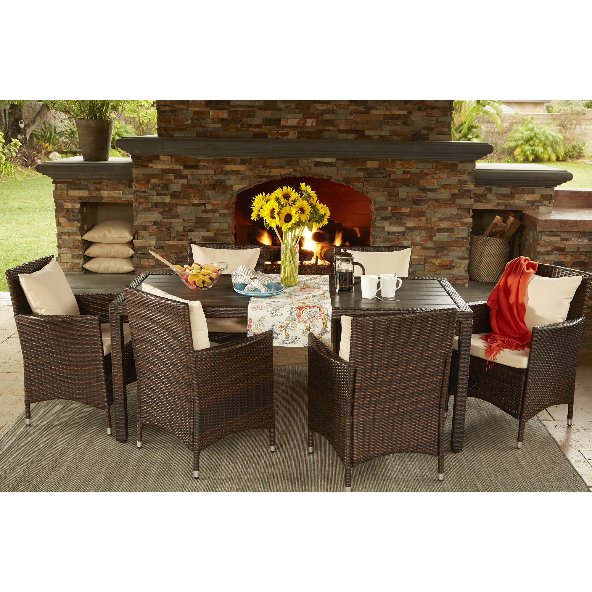 Perfect Havenside Home Stillwater Brown Indoor/ Outdoor 7 Piece Rectangle Dining  Set With Beige Cushions