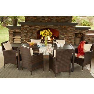 Handy Living Aldrich Brown Indoor/Outdoor 7 Piece Rectangle Dining Set with Beige Cushions|https://ak1.ostkcdn.com/images/products/14451144/P21014302.jpg?impolicy=medium