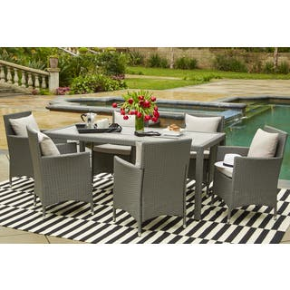 Handy Living Aldrich Grey Indoor/Outdoor 7 Piece Rectangle Dining Set with Grey Cushions|https://ak1.ostkcdn.com/images/products/14451147/P21014303.jpg?impolicy=medium
