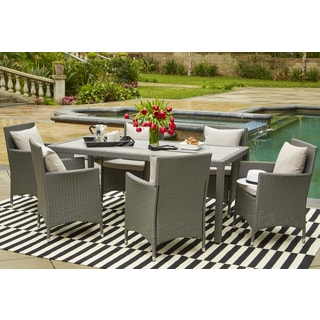 Handy Living Aldrich Grey Indoor/Outdoor 7 Piece Rectangle Dining Set With  Grey Cushions Part 56