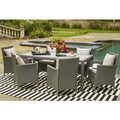 Handy Living Aldrich Grey Indoor/Outdoor 7 Piece Rectangle Dining Set with Grey Cushions