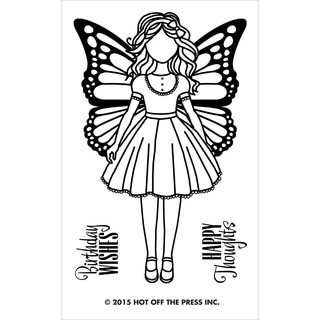 "Hot Off The Press Acrylic Stamps 2.5""X5.5""-Small Girl W/Butterfly Wings"