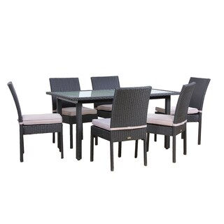 BroyerK Outdoor Dining Set Glass Table 6 Chairs Patio Furniture