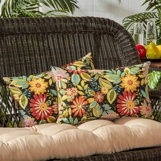 Outdoor 19x12-inch Rectangle Accent Pillows, Set of Two in Jungle Floral