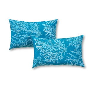 Outdoor 19x12-inch Rectangle Accent Pillows, Set of Two in Sea Coral