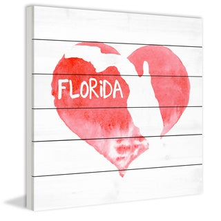 Marmont Hill - 'Don't Break My Heart Florida' Painting Print on White Wood