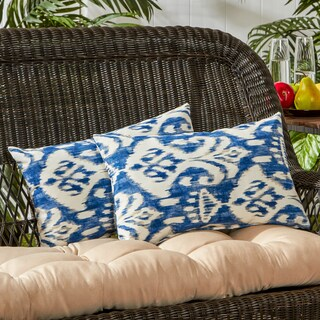 Outdoor Rectangle Accent Pillows, Set of Two in Coastal Ikat - 12h x 19l