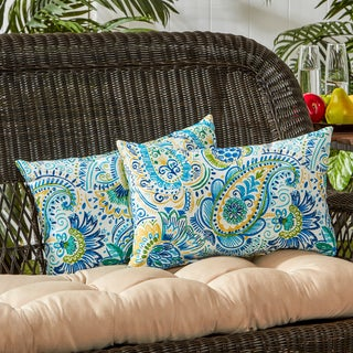 Outdoor Rectangle Accent Pillows, Set of Two in Painted Paisley - 12h x 19l