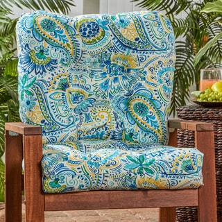 Outdoor Seat/Back Chair Cushion in Painted Paisley