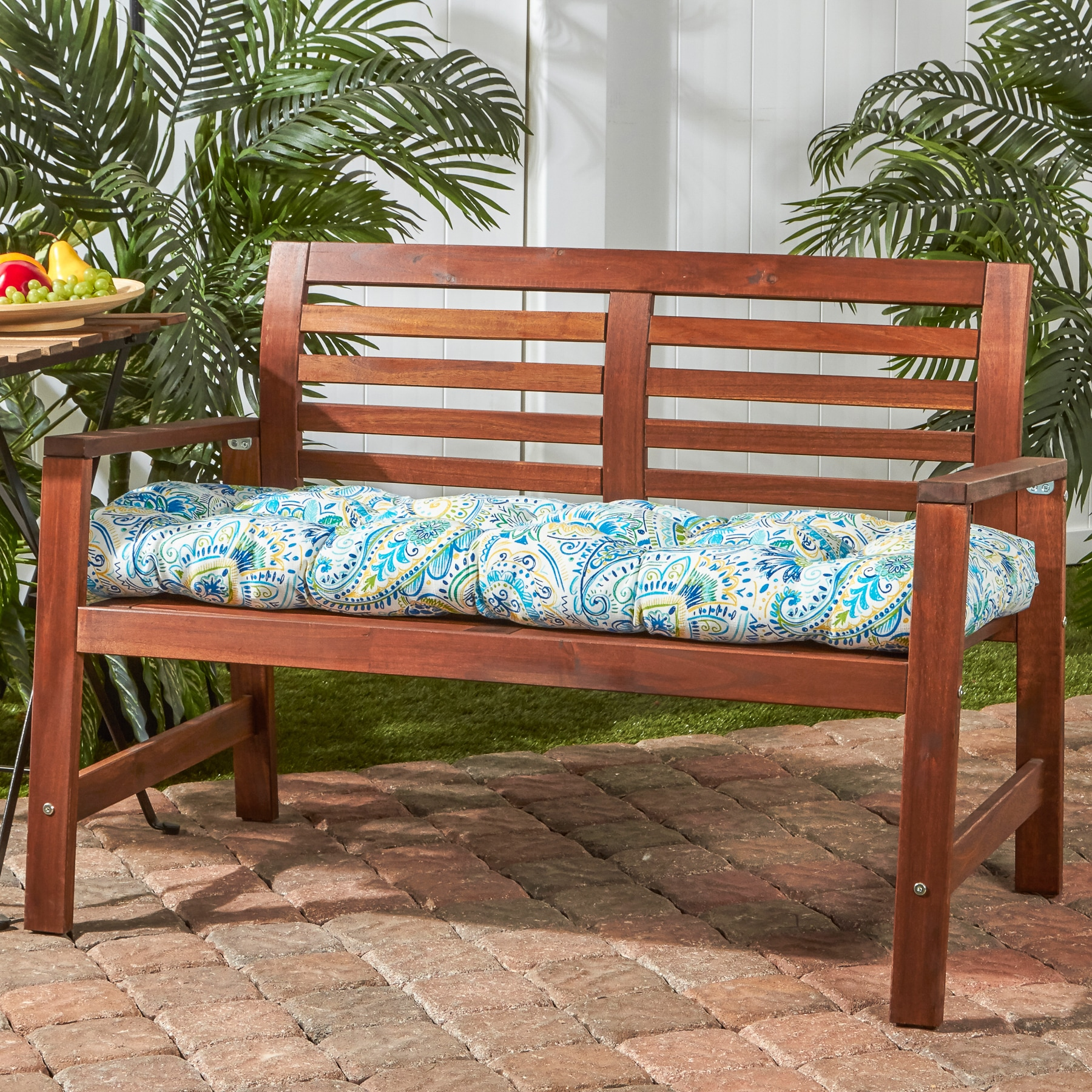 shop greendale home fashions outdoor bench cushion in painted rh overstock com park bench cushions outdoor furniture picnic bench cushions outdoor furniture