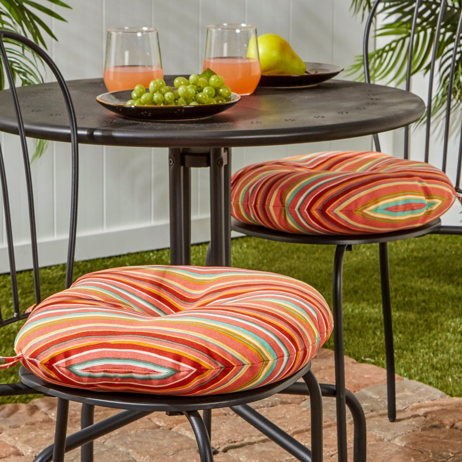 Charmant Shop Havenside Home Colton Outdoor 15 Inch Stripe Bistro Chair Cushions (Set  Of 2)   Free Shipping On Orders Over $45   Overstock.com   22751363