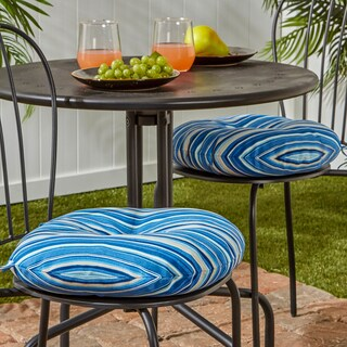 15-inch Round Outdoor Bistro Chair Cushion, Set of 2 in Coastal Stripe
