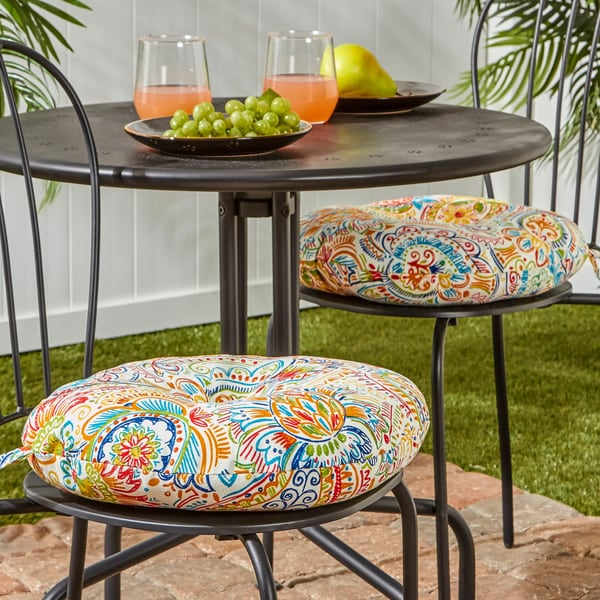 Great 15 Inch Round Outdoor Bistro Chair Cushion, Set Of 2 In Painted Paisley