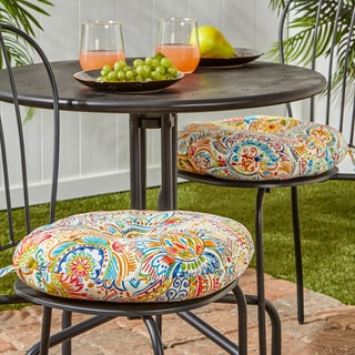 15-inch Round Outdoor Bistro Chair Cushion, Set of 2 in Painted Paisley