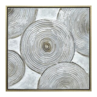Three Hands Abstrat Circle Painting In A Gold Finished Wood Frame- Oil On Canvas