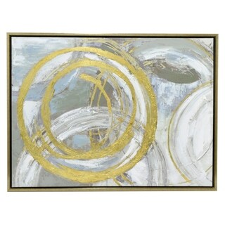 Three Hands 'Abstract Gold And Silver Circles' Embellished Canvas Oil Painting