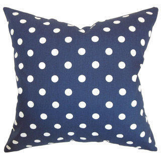 Nancy Dots 22-inch Down Feather Throw Pillow Blue White