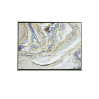 Three Hands 'Blue And Gold Abstract Waves' Embellished Canvas Oil Painting