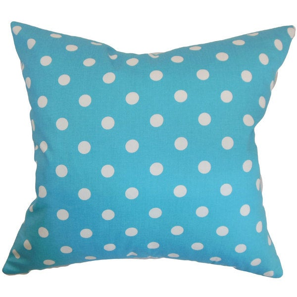 Nancy Dots 22-inch Down Feather Throw Pillow Girly Blue Twill